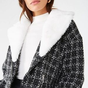 Jackets & Blazers - Black & White Plush Collar Jacket (fits up to 7\8)